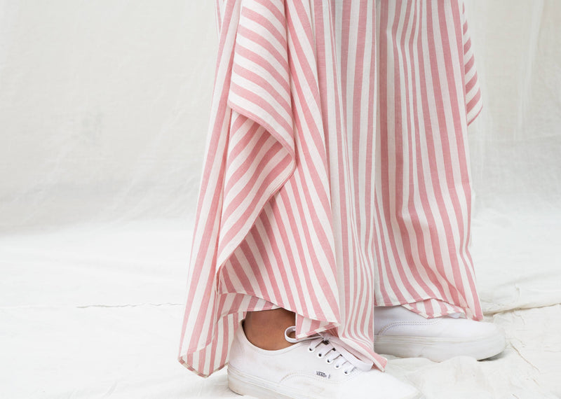 Uneven Hem Stripe Pants - Pink