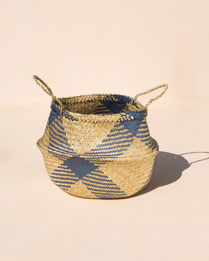 Seagrass Belly Basket - Blue & Natural