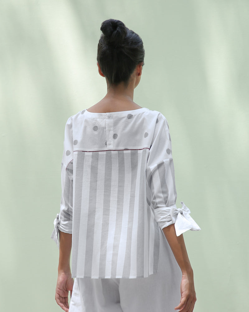 Back Faggoting Stripe Top