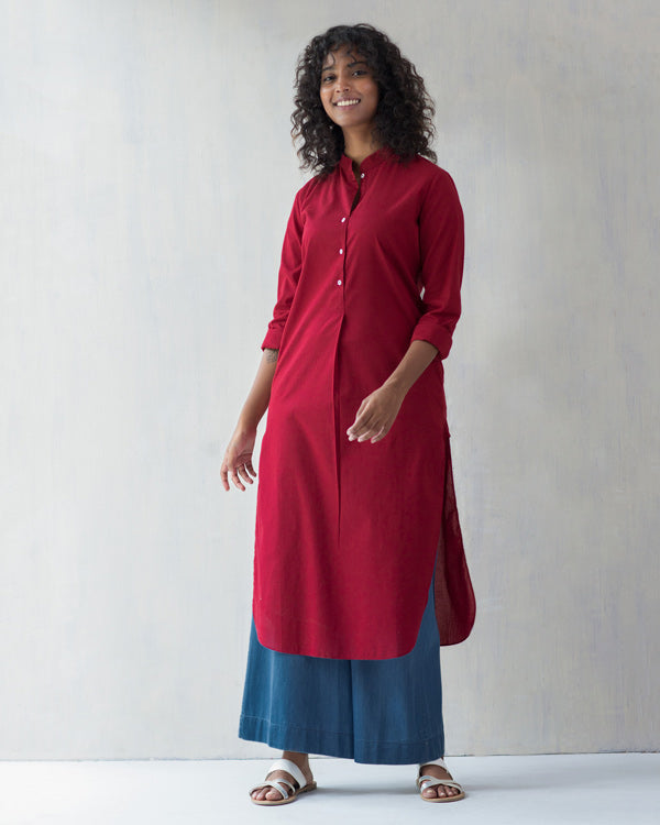 Basic Long Kurta - Red
