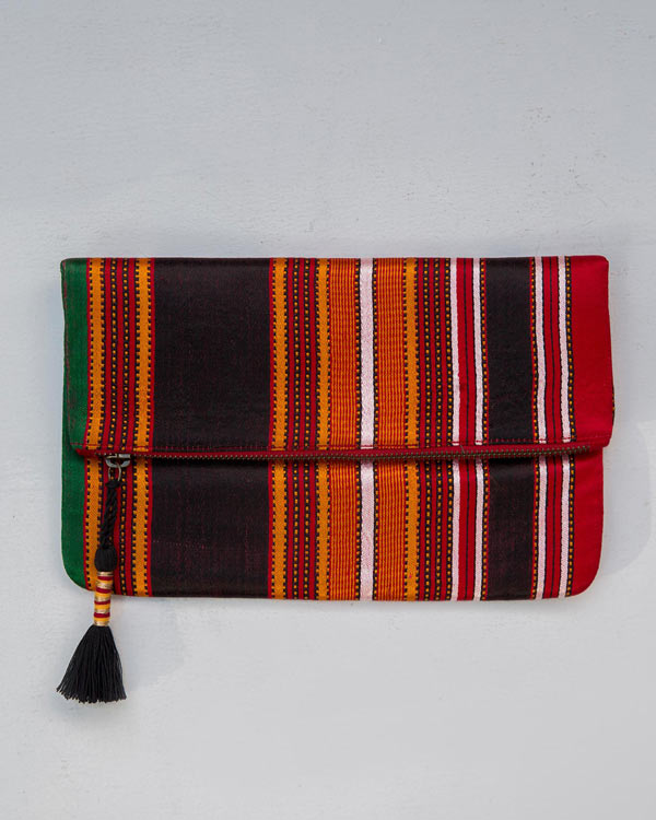 Fold Over Stripe Clutch - Red & Brown