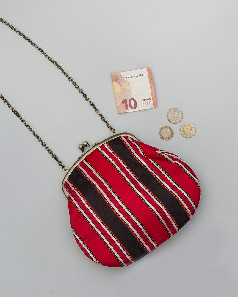 Sling Stripe Clutch - Red & Brown