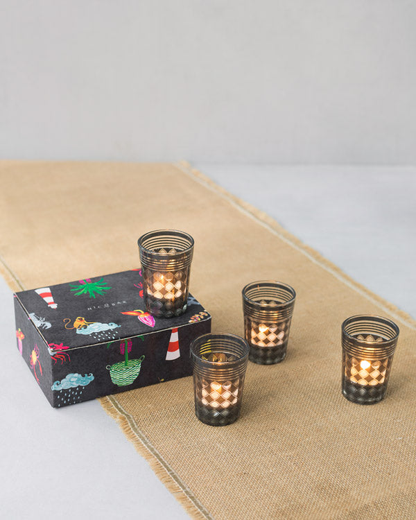 Votives & Chai Glass with Scented Tea Lights (Set of 4)