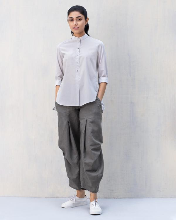 Mandarin Collar Top - Ash Grey