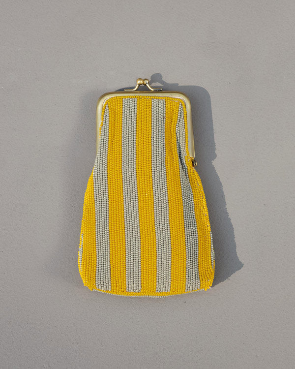 Hana Spectacle Case - Yellow & Grey Stripe