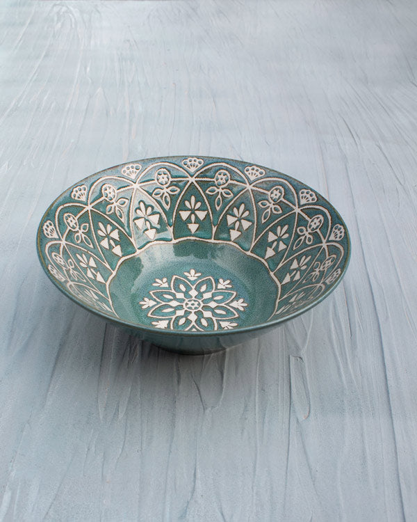 Makran Shallow Bowl - Green