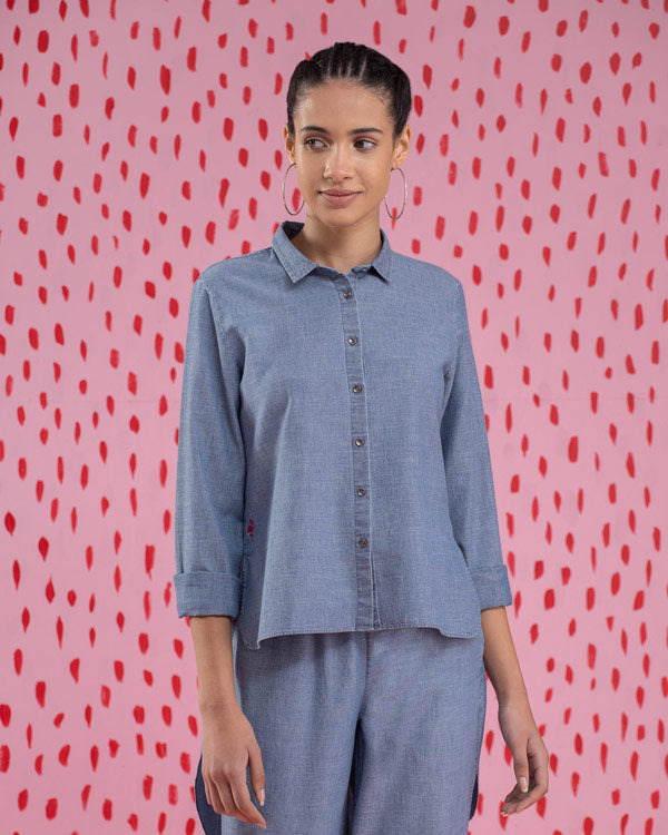 High-Low Placket Top - Blue