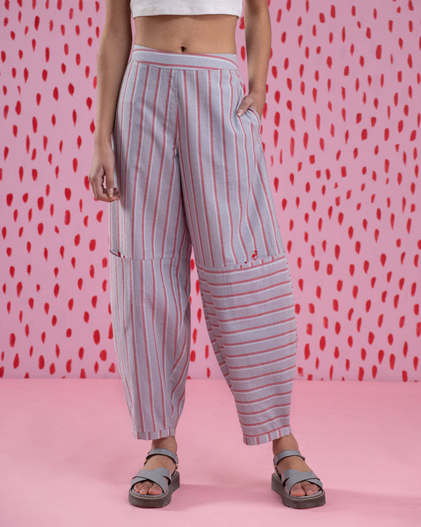 Knee Pocket Stripe Pants - Red & Grey