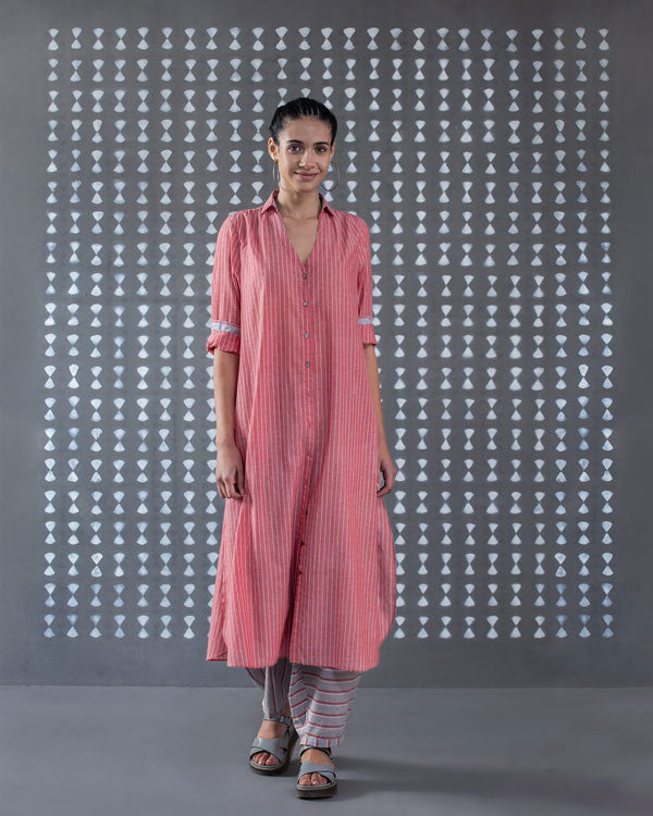 Front Open Kurta - Red