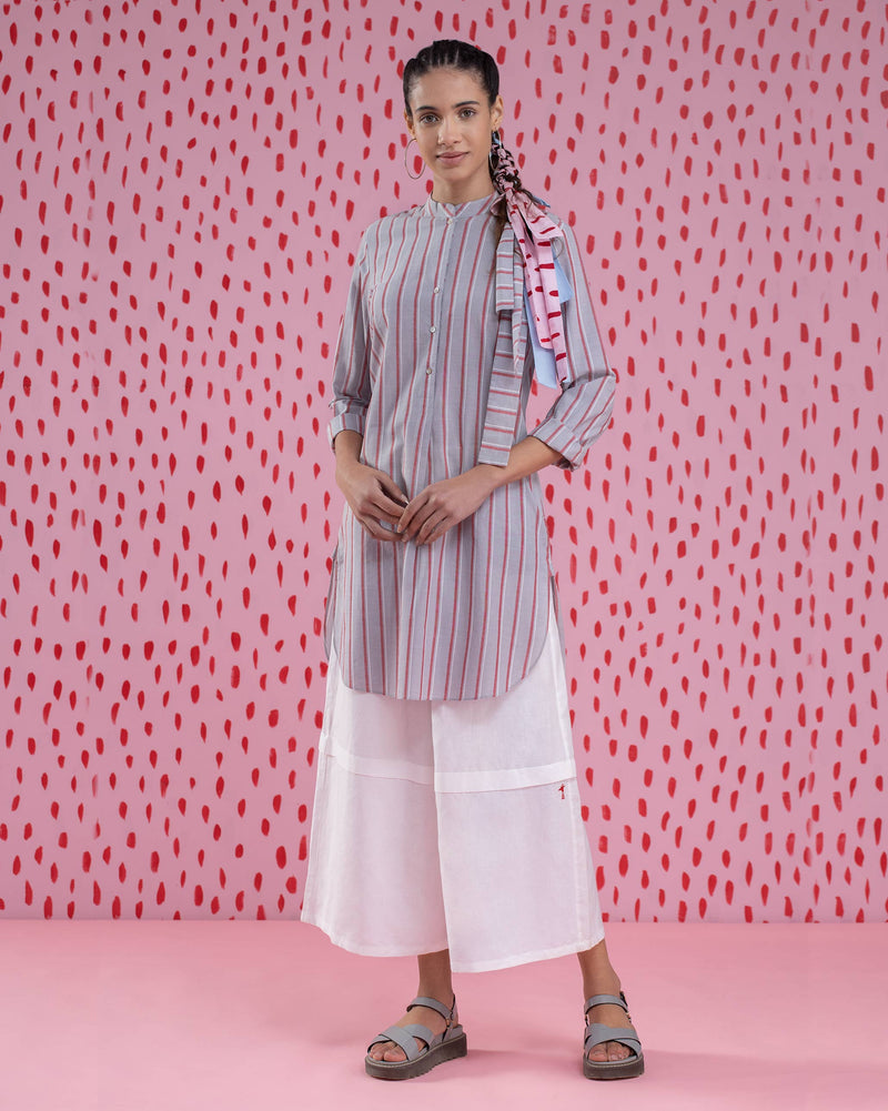 Basic Mid-Length Stripe Kurta - Red & Grey