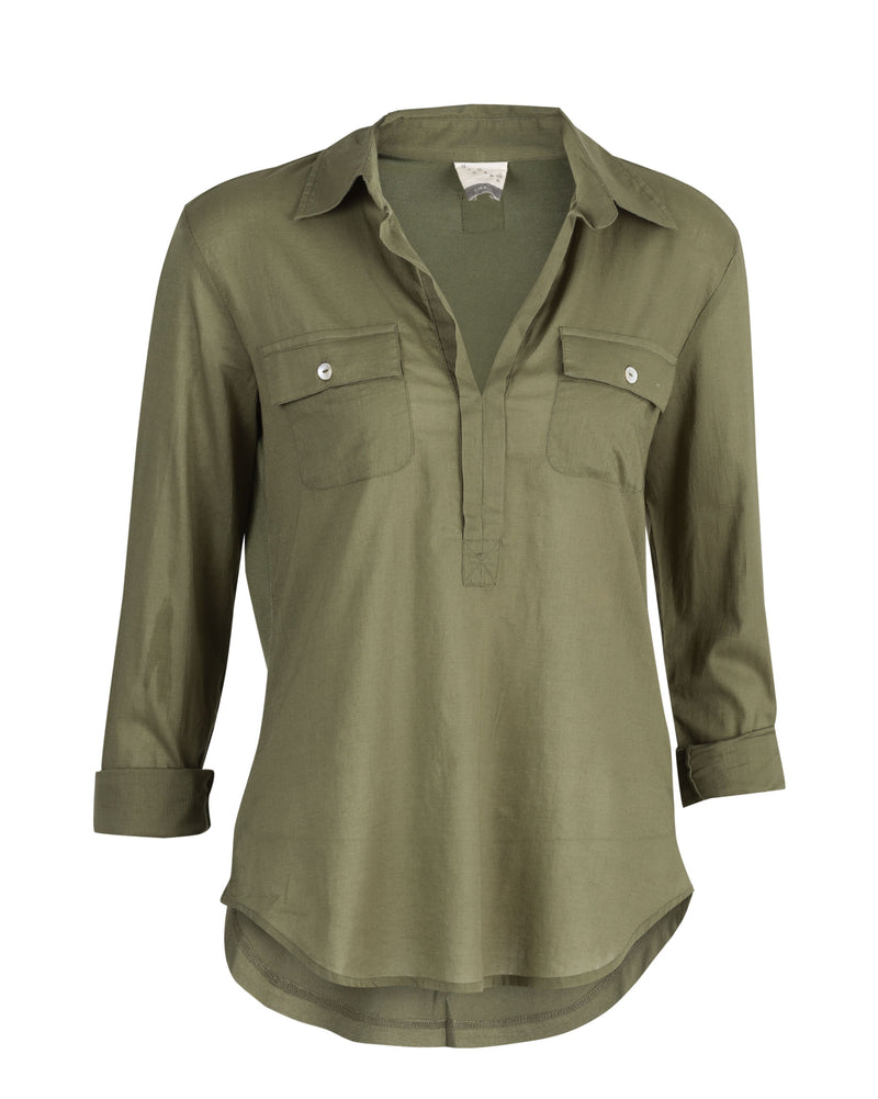 Open Collar Top - Safari