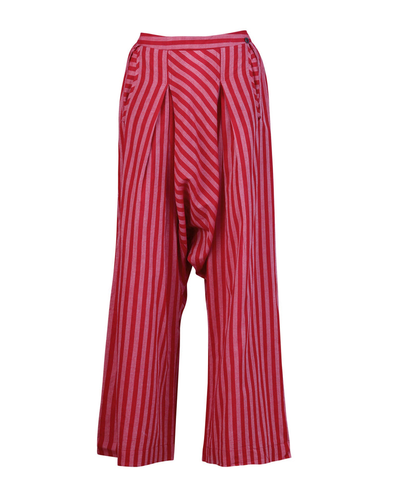 Wide Leg Stripe Drop Crotch Pants