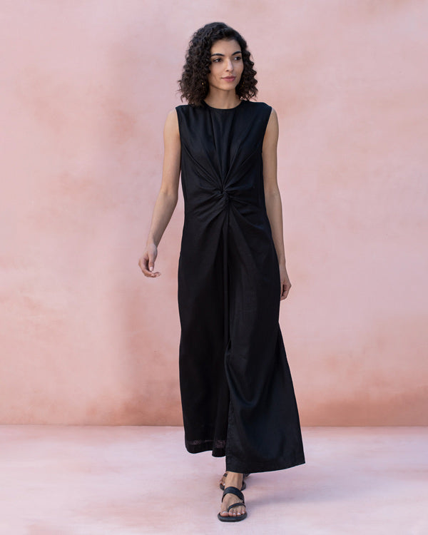 Front Knot Jumpsuit - Black