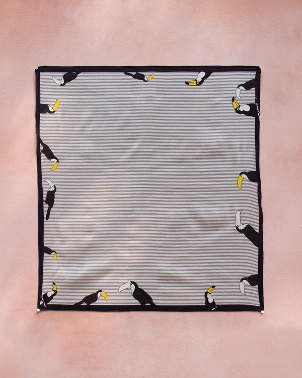 Toucan Scarf - Grey & Black