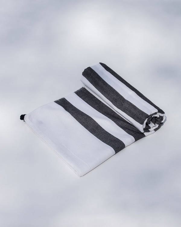 Indo Stripe Towel - White & Black