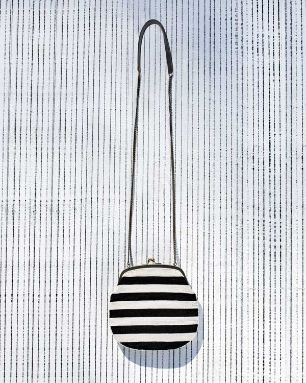 Sling Bag - Black & White Stripes