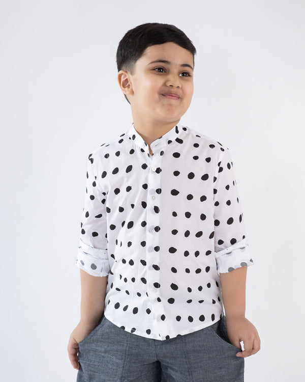 Little Nawab Shirt - White & Black