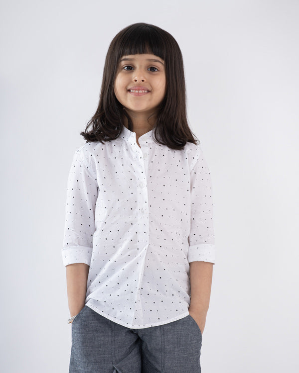 Little Mandarin Collar Top - White & Black