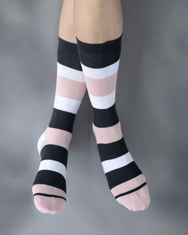 Broad Stripe Socks - Pink & Black
