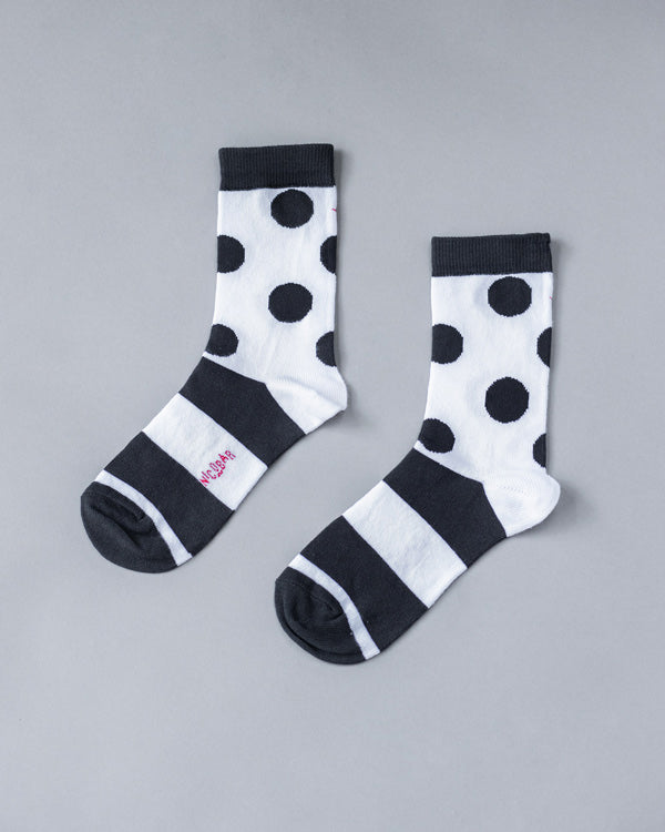 Dot & Stripe Socks - Black & White