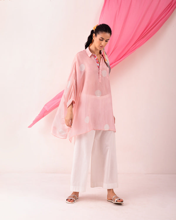 Patch Pocket Shirt - Pink & White