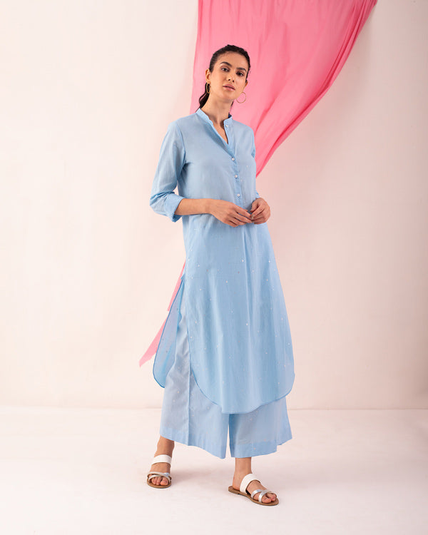 Basic Long Length Kurta - Blue