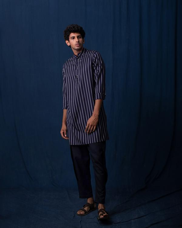 Rey Stripe Kurta - Navy & Grey
