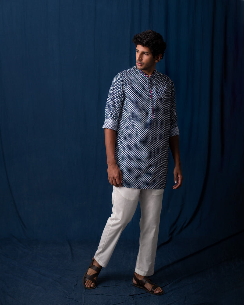 Hakari Kurta - Grey & Blue