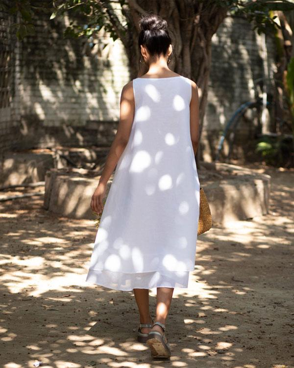 Double Layer Dress - White