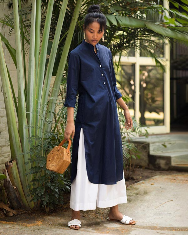 Basic Long Kurta - Blue