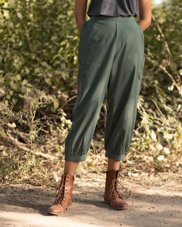 Ribbed Cargo Pants - Olive