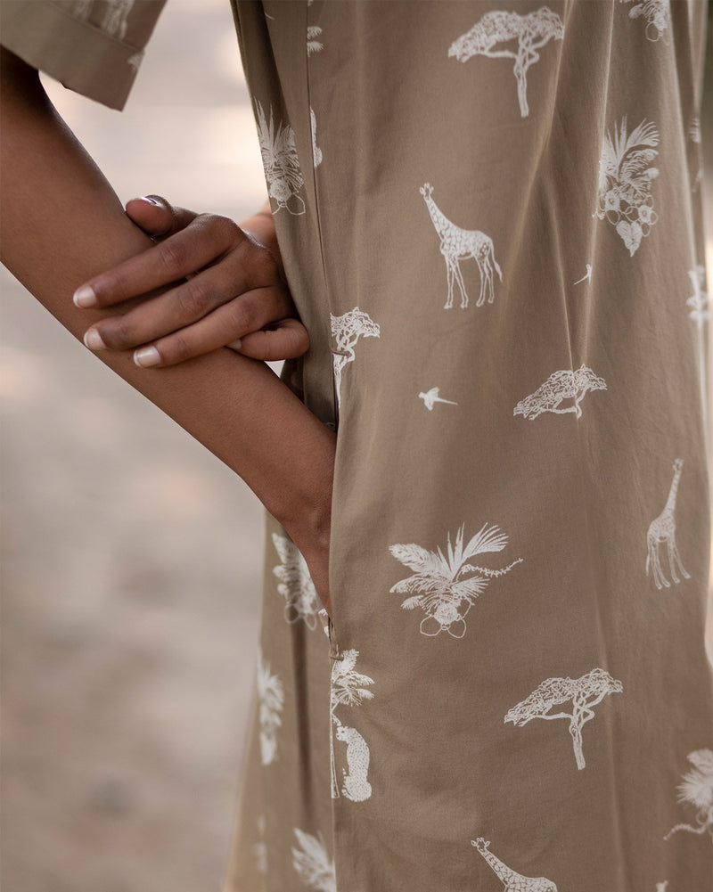 Scout Safari Print Dress - Silver Sage