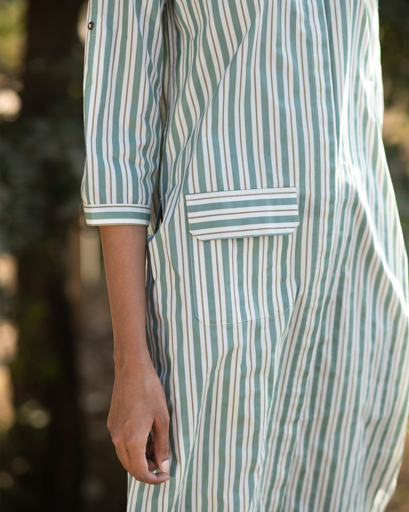Button-down Stripe Top - Olive