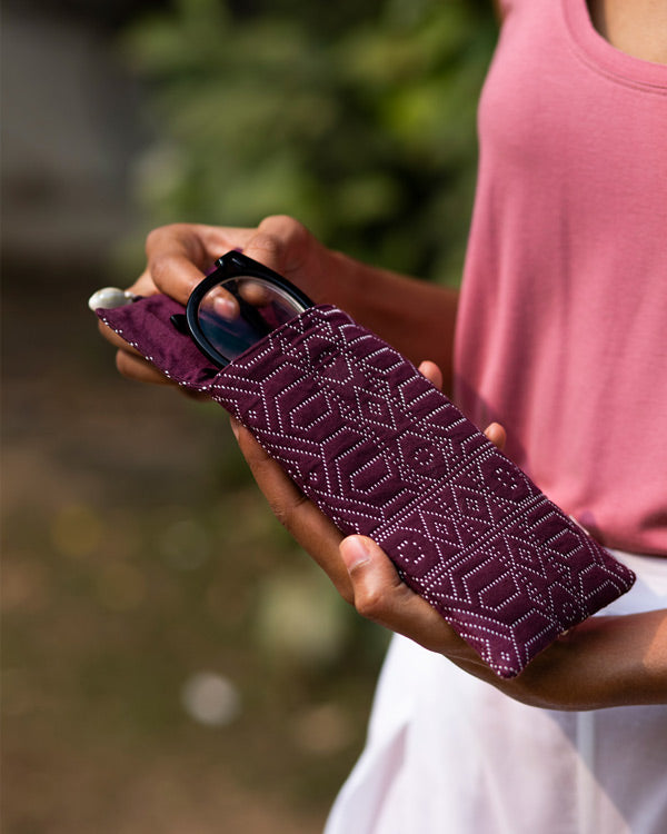 Jacquard Spectacle Case - Purple