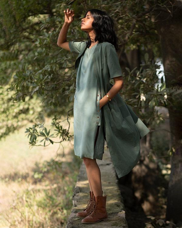 Safar Boat Neck Dress - Olive