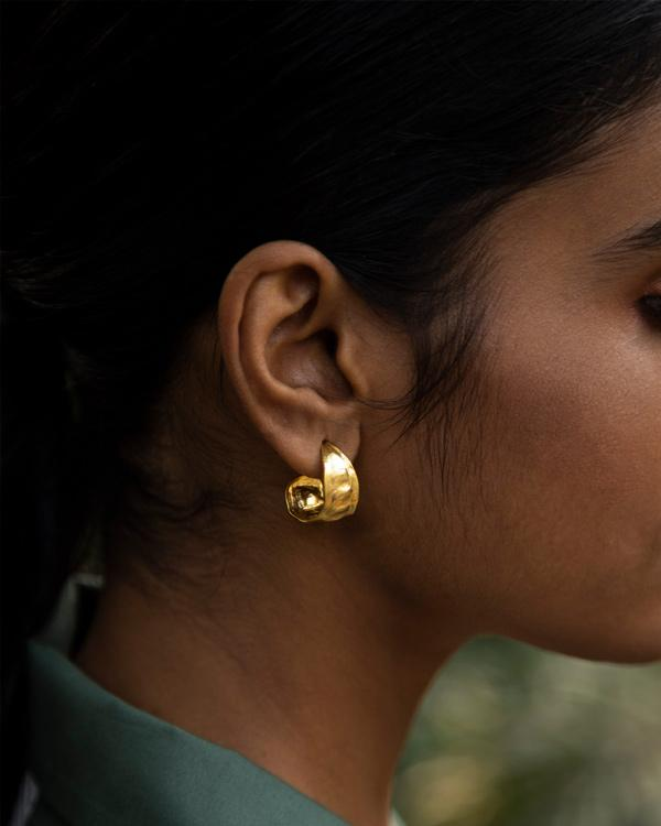 Seed Pod Small Hoops - Gold