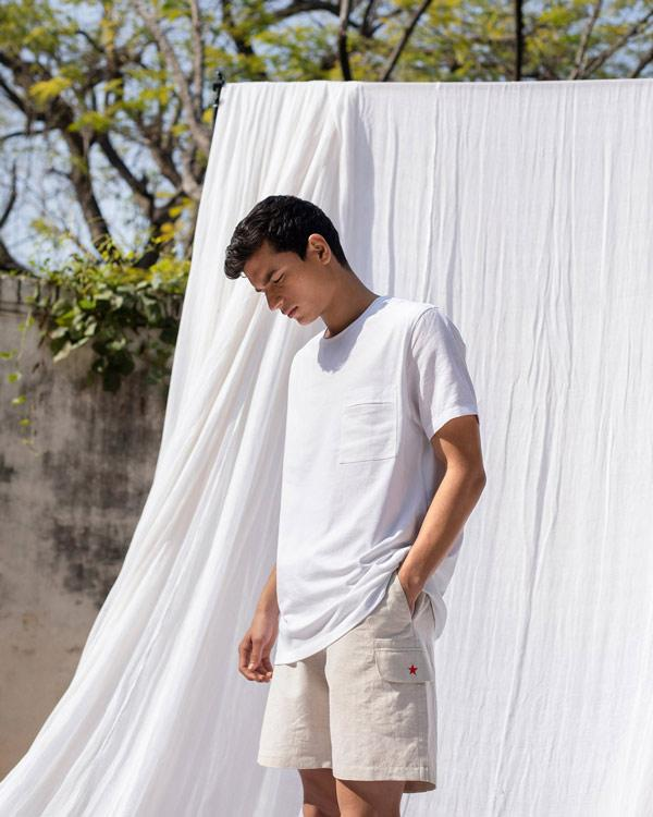 Round Neck Pocket Tee - White