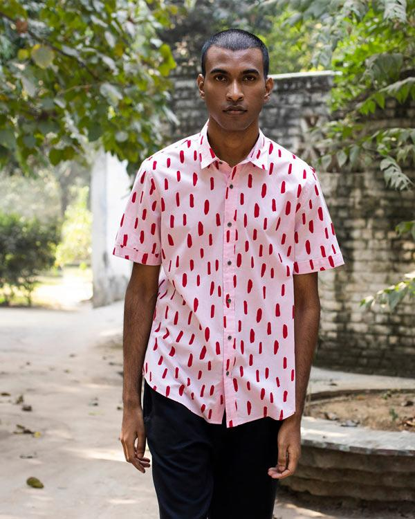 Half Sleeve Shirt - Pink & Red