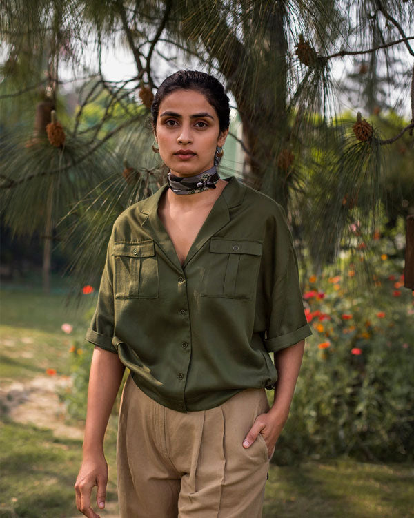 Side Pleat Shirt - Olive