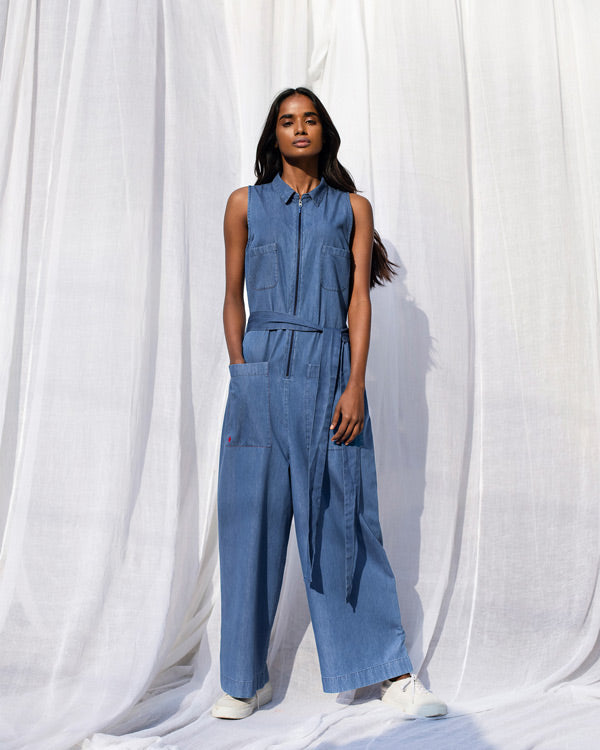 Front Zipper Jumpsuit - Blue