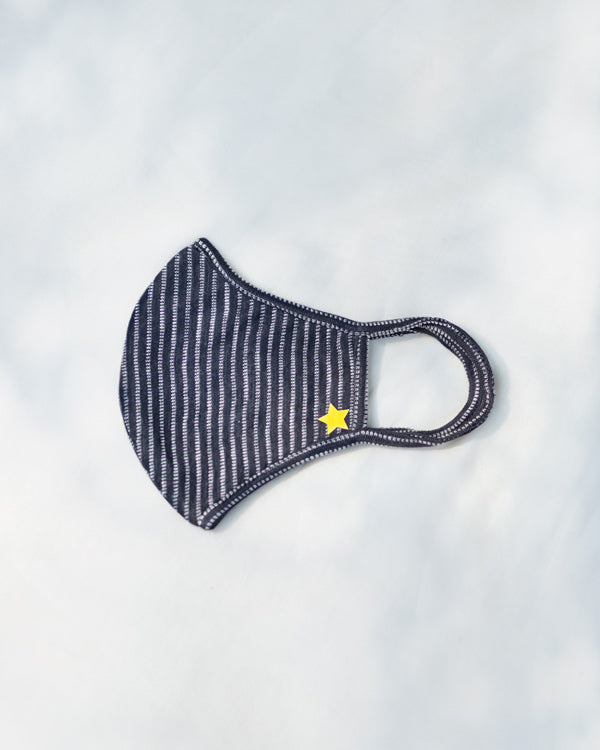 Stripey Knit Mask - Navy & White
