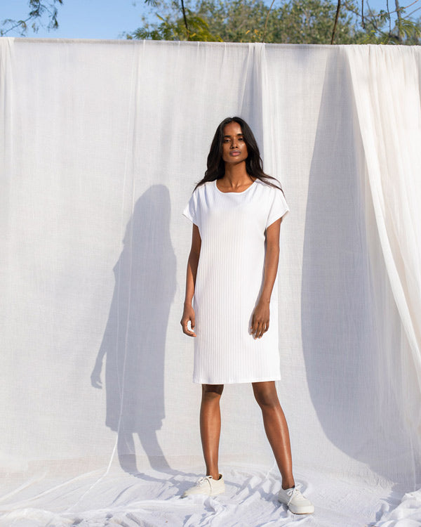 Ribbed Jersey Dress - White