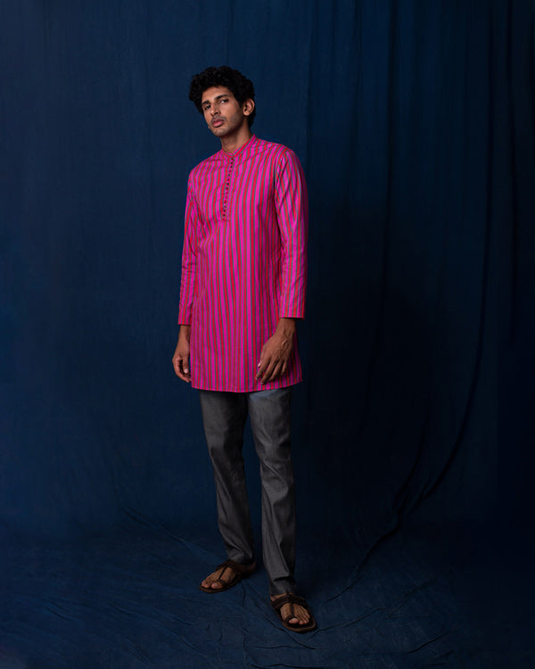 Romani Stripe Kurta - Red & Pink