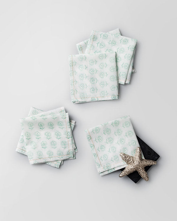 Hana Cocktail Napkins (Set of 6) - Jade
