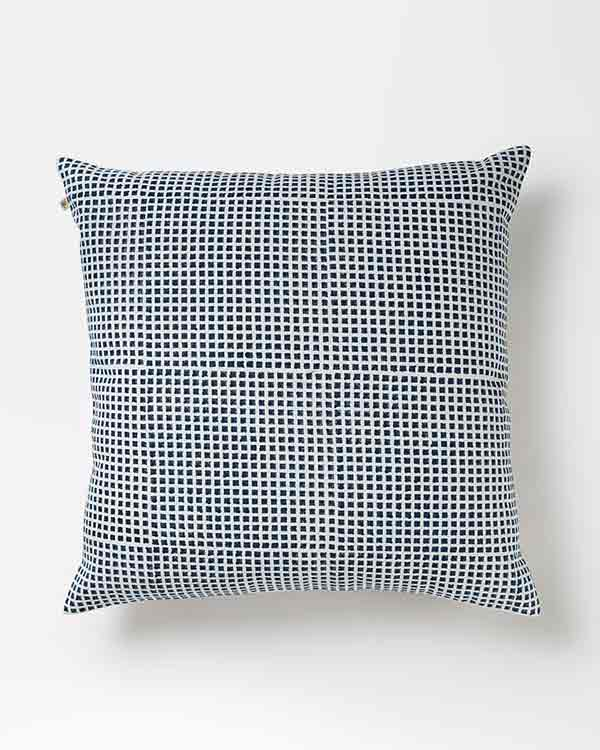 Verandah Checkered Block Cushion - Blue