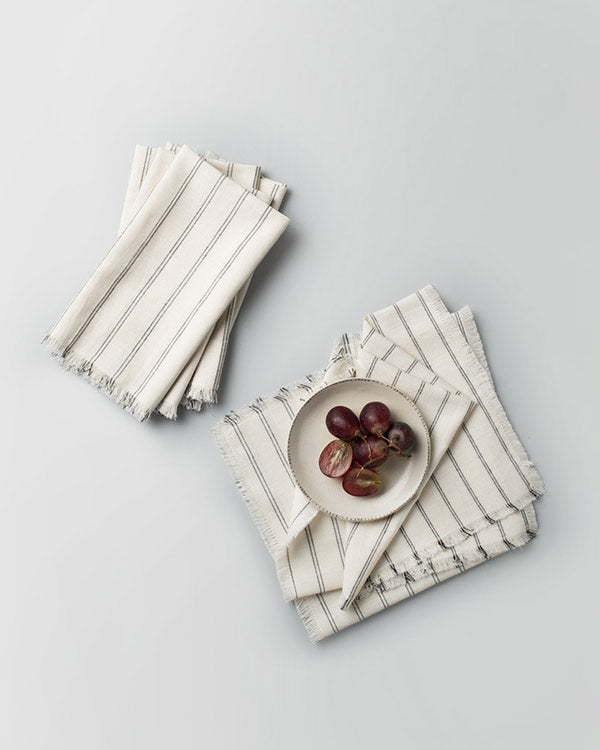 Daburu Stripe Dinner Napkins (Set of 6) - White