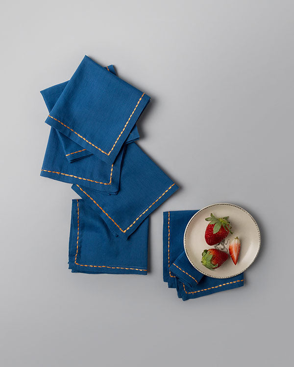 Sora Cocktail Napkins (Set of 6) - Dark Blue & Orange