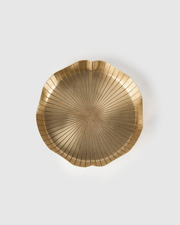 Lotus Leaf Brass Dessert Plate