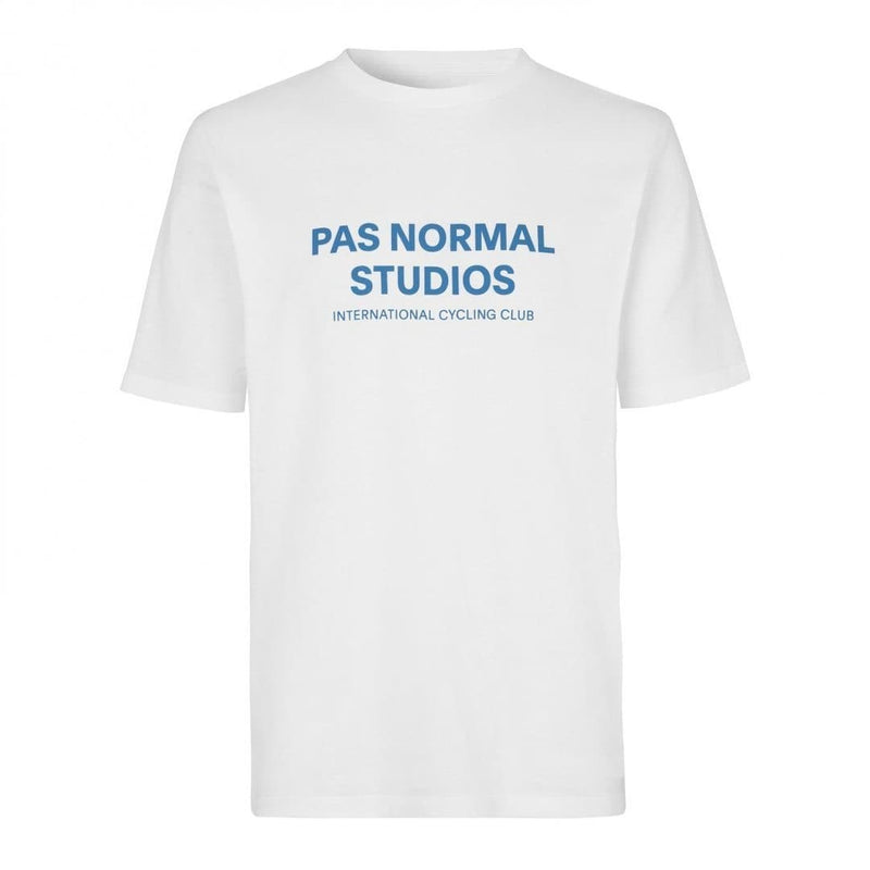 PAS NORMAL STUDIOS Logo T-Shirt White Blue Short Sleeve Default Velodrom Barcelona