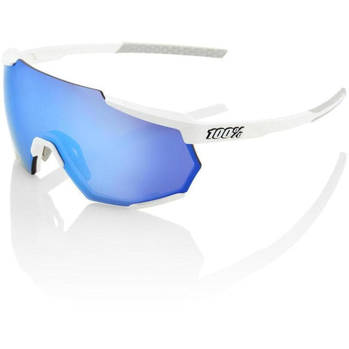 RIDE 100% Eyewear Racetrap Matte White HiPER Blue Multilayer Mirror Lens Default 100%